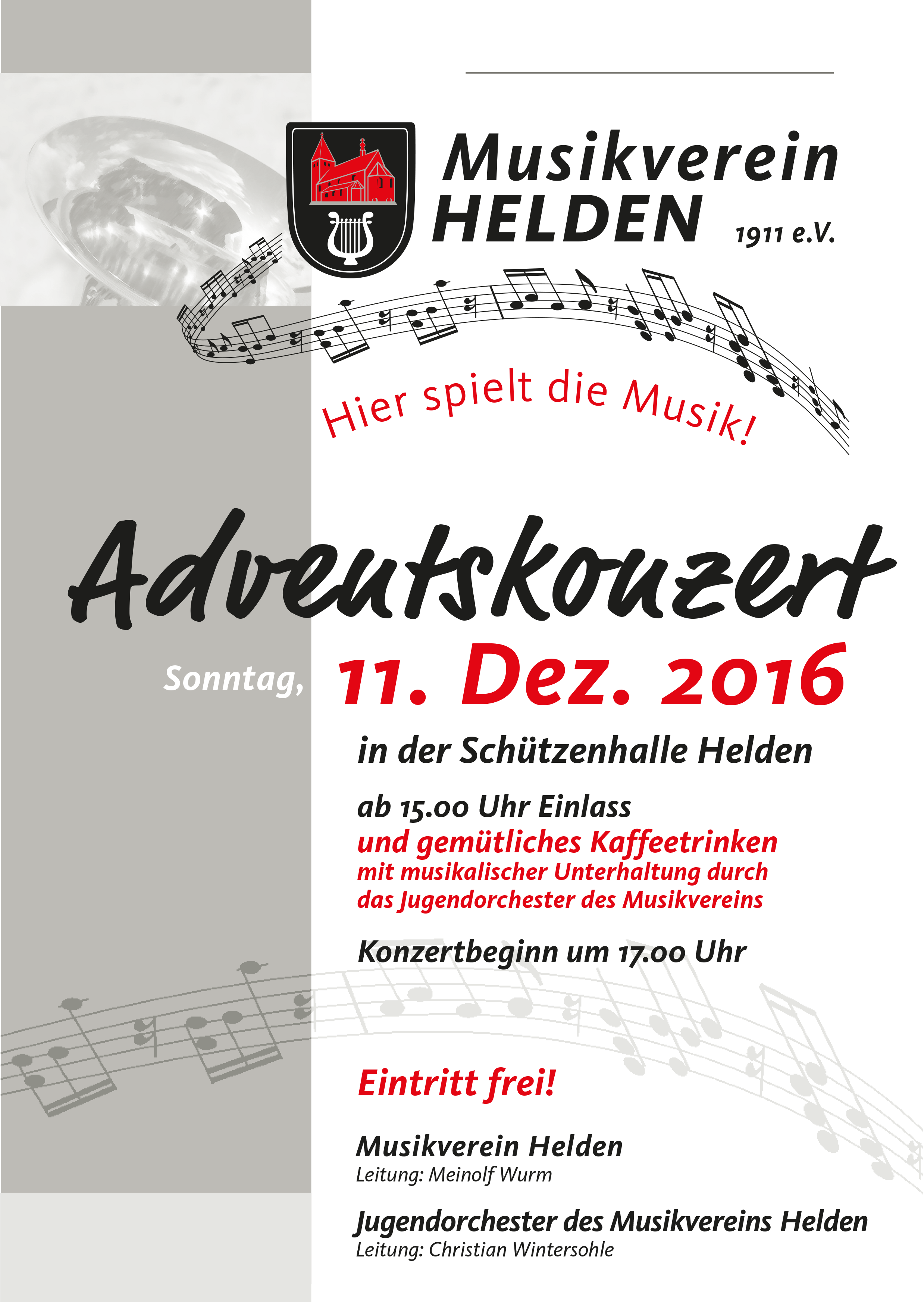 Plakat für das Adventskonzert 2016 am 11.12.16 ab 15.00 Uhr